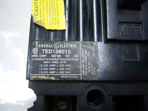 (7268) GE Circuit Breaker TED136015 15A 600 VAC 3P, US $76.22 – Picture 2