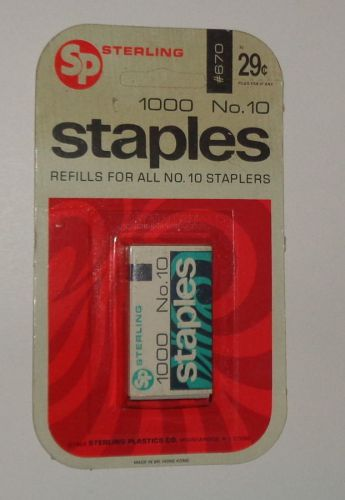 Vintage 1968 collectible 1000 STAPLES, Sterling Plastics, orig package size  #10 � Picture 1