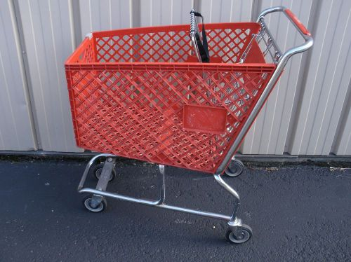 (united steel and wire) cherry red medium used plastic shopping grocery carts