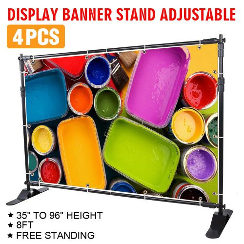 "4pcs 8' banner stand advertising printed set trade potable portable 54"" to 96"""