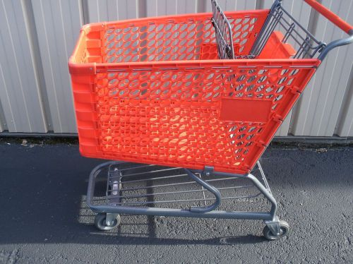 (versacart) bright red medium used plastic shopping grocery carts