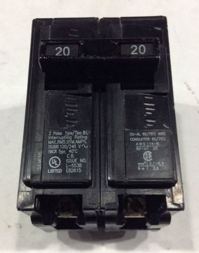 B220 Siemens / ITE Type BL Bolt-On Circuit Breaker 2 Pole 20 Amps 240V, US $12.99 – Picture 1