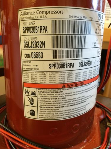 NEW)Trane / Alliance Scroll Compressor - SPR030B1RPA COM08583 R22 3