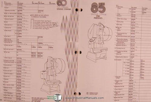 Rousselle 150  200  250  300 Ton Press  Parts List Manual 1979  U2013 Tzsupplies Com