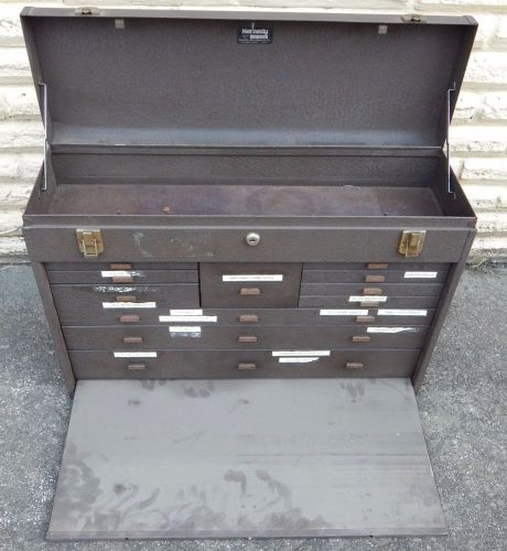 Vintage kennedy machinist tool box chest no.52611 11 drawer with 2 keys brown