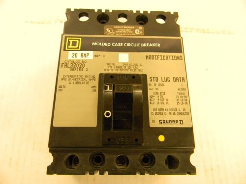 Square-d molded case circuit breaker fal32020 3-poles 20 amp