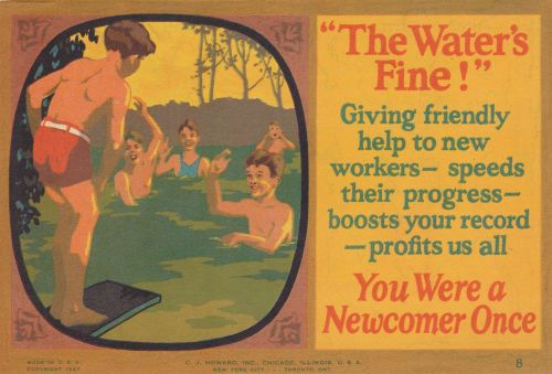 1927 sales advice card-the water's fine