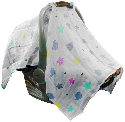 Mum n me baby car seat cover; organic cotton muslin,