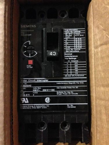 SIEMENS / ITE  ED63A040 NEW CIRCUIT BREAKER  3 POLE 40 AMP 600 VAC, US $147.00 � Picture 1