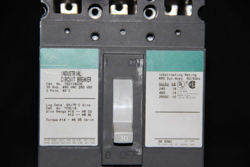 G.E TED134030 3 Phase 3 Pole 480 Volt 30 Amp Circuit Breaker, US $20.00 � Picture 1