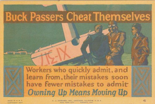 1927 sales advice card-buck passers cheat themselves