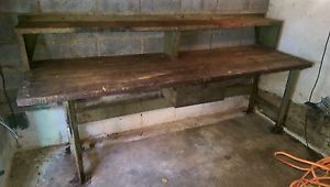 "Vintage industrial work bench awesome piece..heavy 2""+ thick wood top steel base"