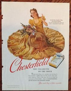 Chesterfield cigarettes ad 1940 vintage print elaine shepard month of may girl