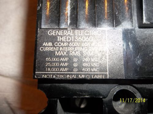 GE THED 136060 3 pole 60 amp 600 volt circuit breaker � Picture 3