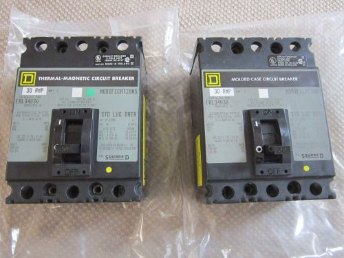 2 new 30 amp 3 pole square d thermal magnetic breakers fal34030