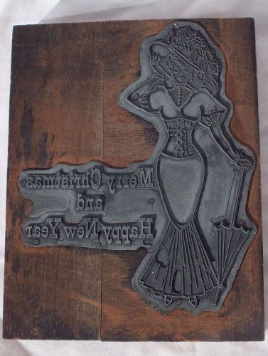 Victorian merry christmas &happy new year lady printing block advertising signed