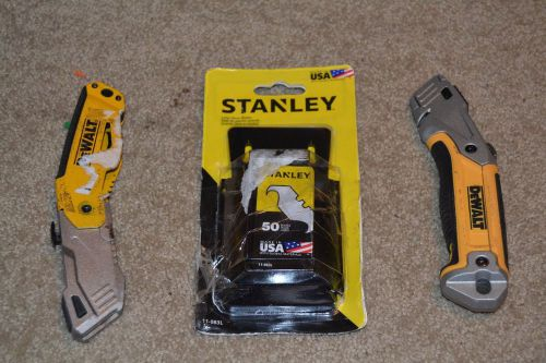 2 dewalt folding boxcutters and box of stanley large hook blades **price drop**