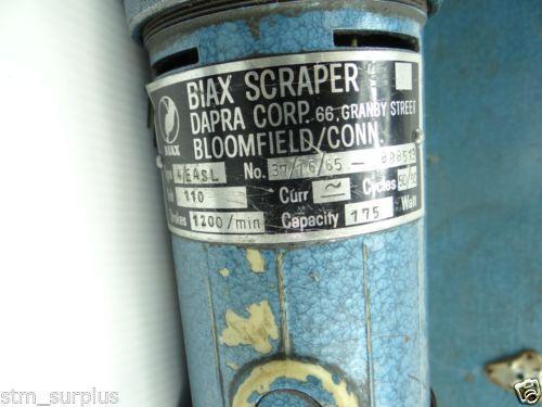 BIAX DAPRA ELECTRIC SCRAPER 110 VOLTMODEL 4/EASL MACHINE WAY