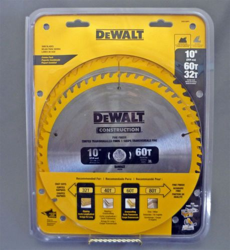 "New 10"" dewalt combo pack 60 & 32 tooth carbide circular saw blades construction"