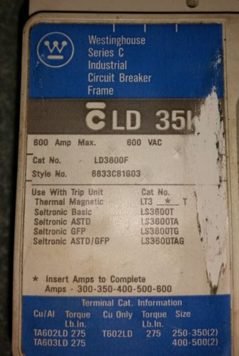 Westinghouse Series C 600 A 600 VAC 250 VDC Circuit Breaker LD3600F 6633C81G03, US $350.00 – Picture 2