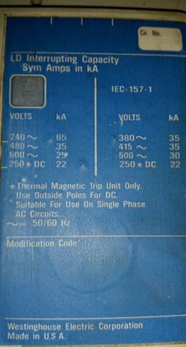 Westinghouse Series C 600 A 600 VAC 250 VDC Circuit Breaker LD3600F 6633C81G03, US $350.00 – Picture 3
