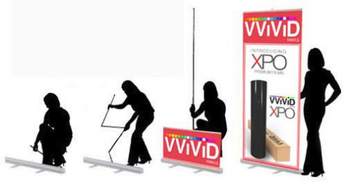 "Retractable 32""wide 79"" tall display banner stand trade show poster cl-r-s-3"