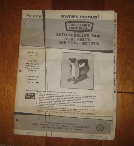 Sears craftsman commercial owners manual auto-scroller saw jigsaw p/n 315.17280