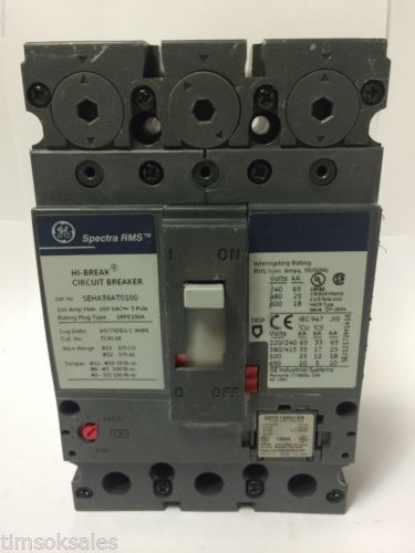 GE Spectra RMS SEHA36AT0100 Hi-Break Circuit Breaker 100A 600V 3P, SRPE100A100, US $80.00 � Picture 2