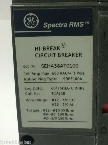 GE Spectra RMS SEHA36AT0100 Hi-Break Circuit Breaker 100A 600V 3P, SRPE100A100, US $80.00 � Picture 3