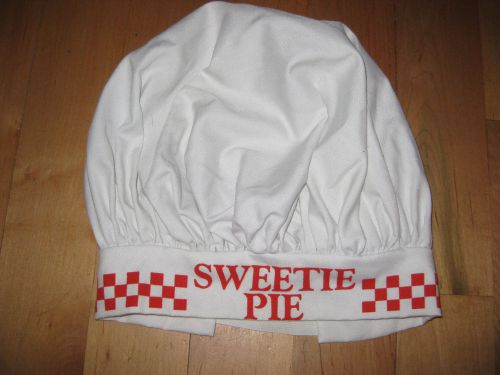 Unisex durable pleated round cotton chef hat elastic band design sweetie pie