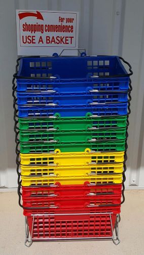 Set of 12 multi-color plastic shopping baskets - includes stand & sign