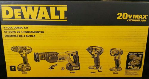 Dewalt dck492l2 20v-max cordless li-ion 4-tool combo kit hdrill impact recip saw