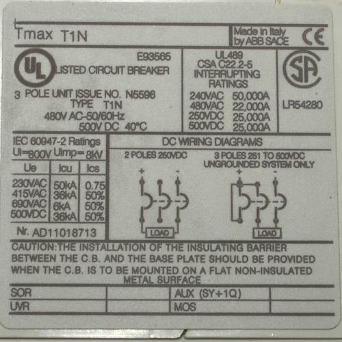 ABB Tmax T1N N5596 circuit breaker with rotary handle,3 pole, US $35.00 � Picture 2