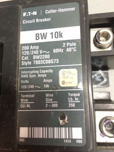 Eaton Cutler Hammer 200 AMP Main Circuit Breaker 2 Pole BW 10K BW2200 120/240 V, US $100.00 – Picture 1