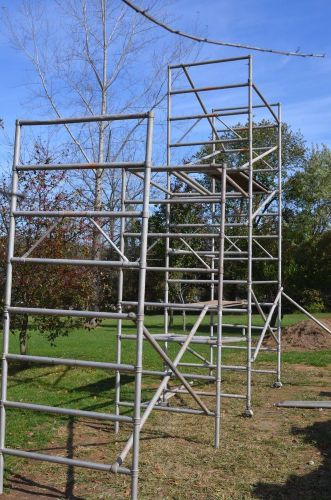 Upright scaffold double width easy up aluminum scaffolding w/ platforms staging