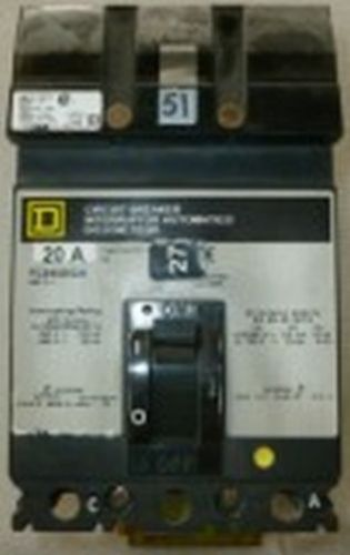 Used square d fc24020ca 20a 2p 480v 10kaic bolt-on i-line circuit breaker