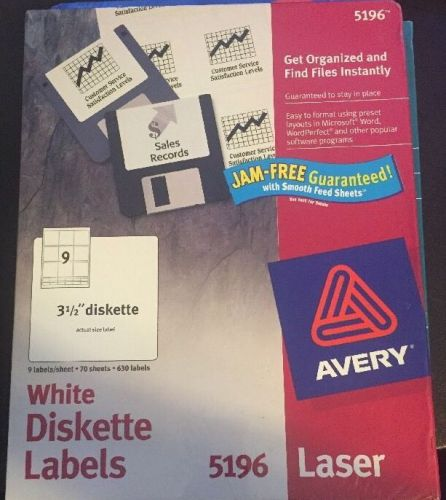 "Avery permanent 3-1/2"" diskette laser/inkjet labels 5196, box of 630 labels"