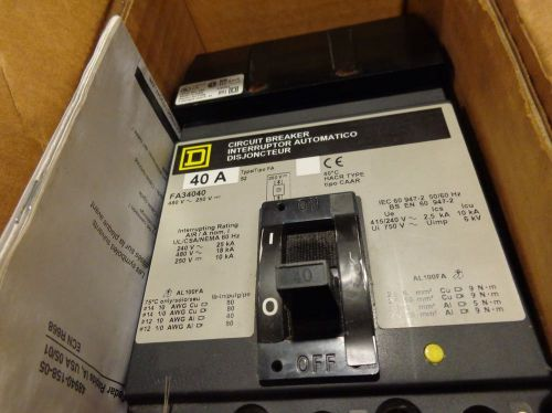 New old stock square d fa 3 pole 40 amp 480v fa34040 circuit breaker