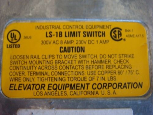 Brend New, ELEVATOR EQUIPMENT CO. LS-1B LIMIT SWITCH 300VAC 8A, 230VDC 1A – Picture 3