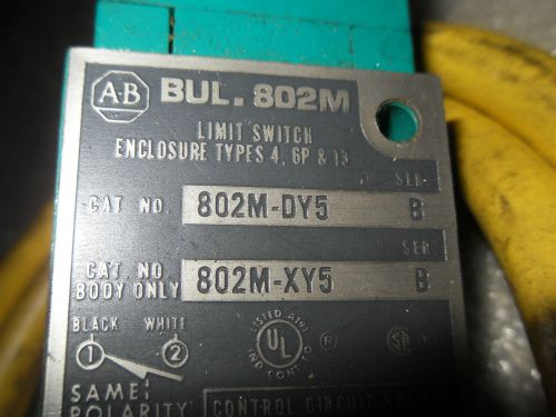 (y6-2) 1 used allen bradley 802m-dy5 ser b limit switch