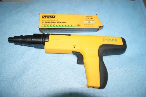 Dewalt p3500 powder actuated tool with a  box of 10 caliper safety strips loads