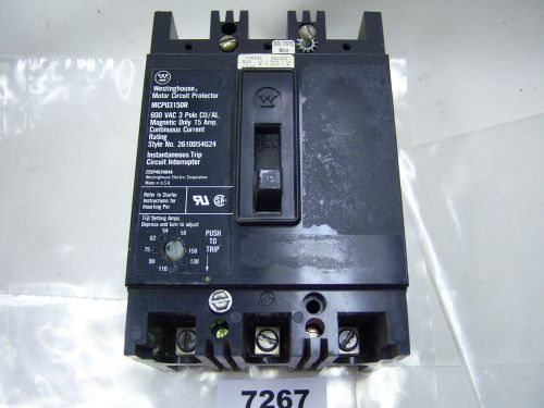 (7267) Westinghouse MCP03150R Circuit Breaker 15A 600VAC 3P, US $100.22 – Picture 1