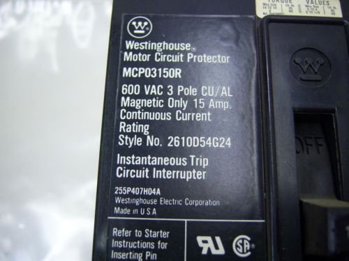 (7267) Westinghouse MCP03150R Circuit Breaker 15A 600VAC 3P, US $100.22 – Picture 2