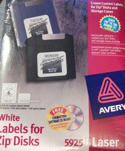 New avery labels 5925 white labels for zip discs. 25 sheets, 150 disc labels.