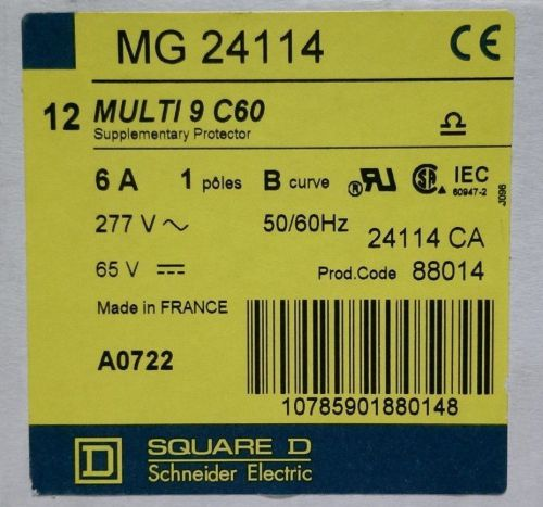 Lot of 4 square d mg24114 multi 9 c60 6a. 1pole b/curve/277vac/65vdc/50/60 hz.
