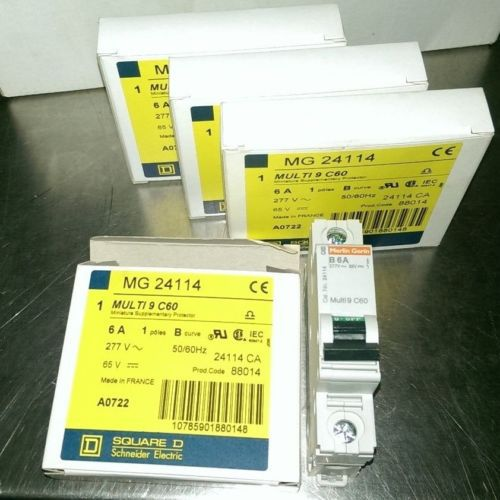 LOT OF 4 SQUARE D MG24114 MULTI 9 C60 6A. 1POLE B/CURVE/277VAC/65VDC/50/60 Hz., US $64.00 � Picture 2