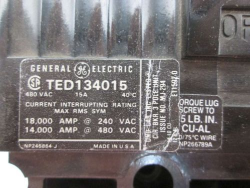 NEW GE TED134015WL 3P 15A AMP 480V-AC MOLDED CASE CIRCUIT BREAKER D402135, US $45.25 � Picture 7