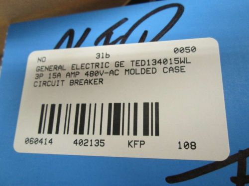 NEW GE TED134015WL 3P 15A AMP 480V-AC MOLDED CASE CIRCUIT BREAKER D402135, US $45.25 � Picture 9