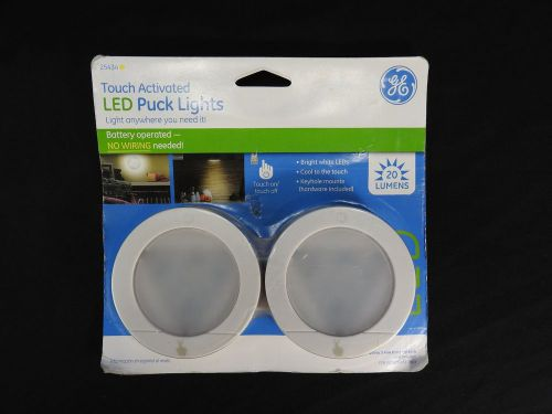 New ge 25434 home battery operated touch activated led puck lights - white