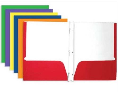 Brand new 2 pocket premium paper folders, assorted colors (10 pack)